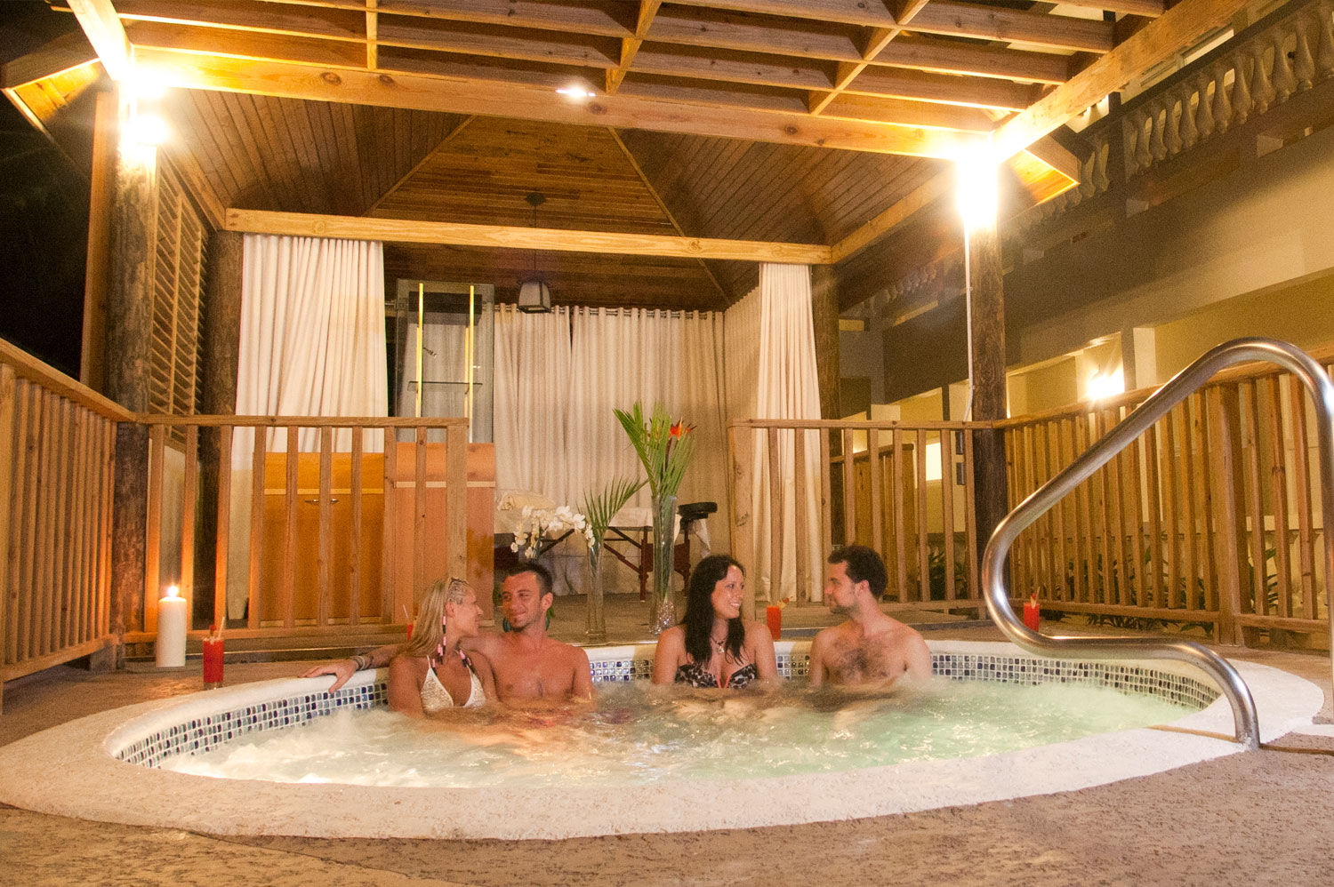 People in the Sauna Relaxing